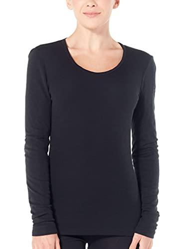 icebreaker Damen Funktionsshirt 175 Everyday LS Scoop Merino Baselayer, Black, S, 104472