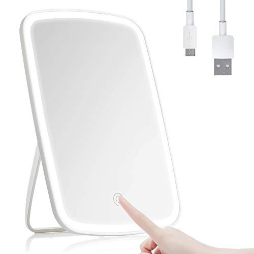FeelGlad Kosmetikspiegel mit Licht, LED Schminkspiegel mit Touchschalter, Dimmbare Heilligkeit USB wiederaufladbarer Standspiegel Tischspiegel für Schminken, Rasieren und Gesichtspflege