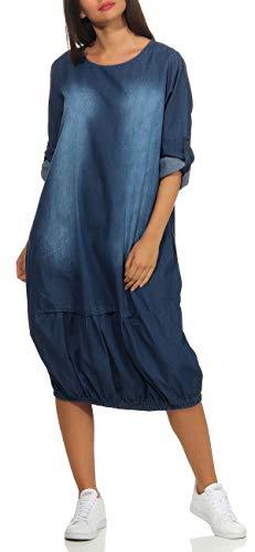 malito dames Jeansjurk | Maxi jurk met 3/4 mouwen | stijlvolle vrijetijdsjurk 9960