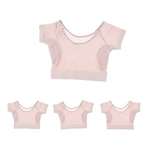 F Fityle Camisa Lavable de 4 Piezas con Almohadillas para El Sudor en Las Axilas, Protectores para Las Axilas, Absorbentes