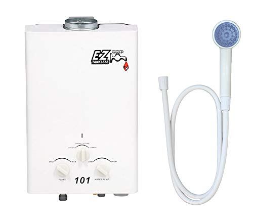 EZ 101 Tankless Water Heater - Propane (LPG) Gas - 2 GPM - Small - Portable - Point of use - Battery Powered Ignition - Camping - RV - FREE UPGRADE