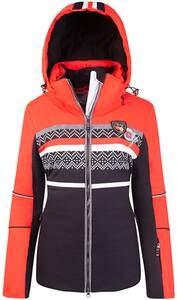 Canyon ski-jas zonder bont rood-zwart-wit print