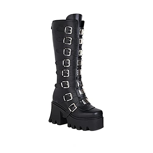 Womens Gothic Punk Platform Boots Wedge Chunky Ins Motorcycle Mid Calf Combat Knee High Boots, negro mate, 38 EU Étroit