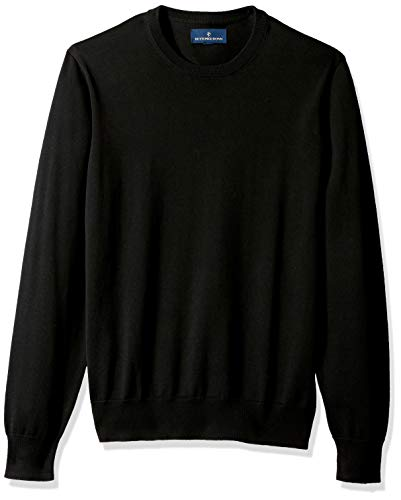 BUTTONED DOWN Men's Supima Cotton Lightweight Crewneck Sweater, black, X-Large