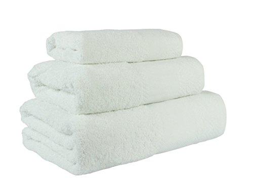 (Blanco) Juego de toallas de baño 3 piezas 100% algodón