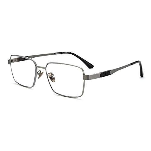EYEphd Gafas de Lectura ultraligeras de Titanio Puro Anti-Azul para Hombres, Marco Rectangular clásico 1,56 del Lector de Lentes Resina asférica Aumento +1,0 a +3,0,Gris,+2.5