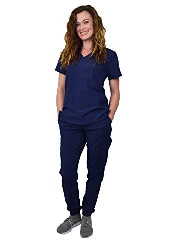 Women's Medical Nursing Jogger Scrub Set GT 4FLEX Top and Pant-Navy-Large
