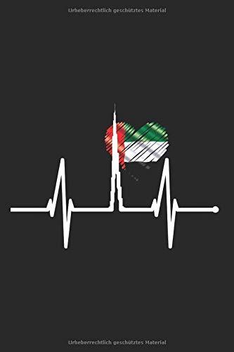 Dubai Skyline Notizbuch: Dubai Herzschlag Notizen Skyline Silhouette Souvenir Burj Khalifa VAE Flagge Fan Arabisch Dubai Planer Tagebuch (Liniert, 15 ... 6