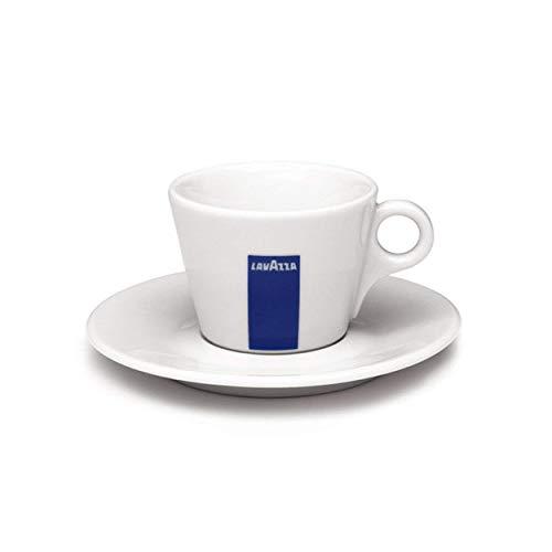 Lavazza Cappuccino-Kaffeetasse und Untertasse, Porzellan, 14 ml, Weiß/Blau, Tasse + Untertasse, Set, weiß/blau, 156 cm