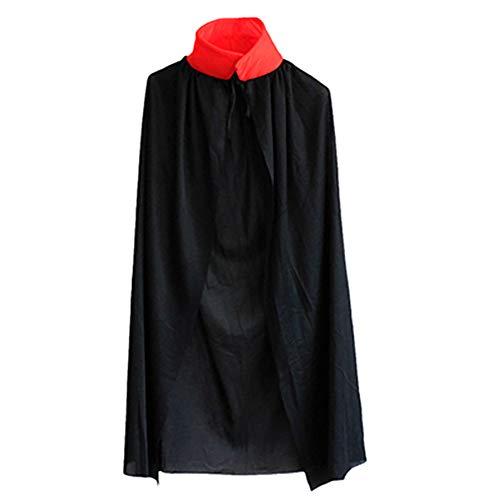 kentop Niños Capa Halloween Stand Cuello Rojo Negro Doble Cara capa vampiro Cosplay Disfraz Cool vampiro dämonen capa