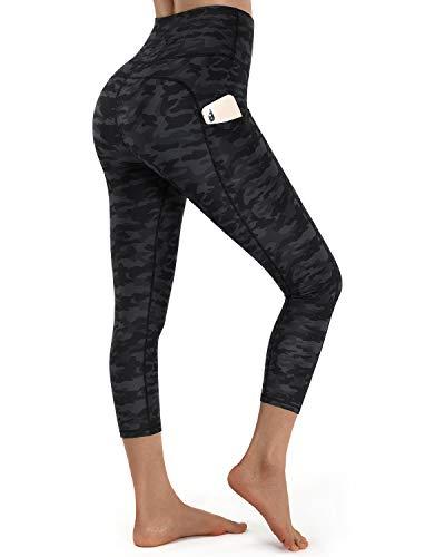 OUGES Womens High Waist Pockets Yoga Pants Running Workout Print Black Camo Capris Leggings(Black Camo Capris-20inch,M)