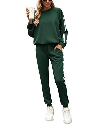 Irevial Survêtement Femme 2 Pièce Ensembles Casual Jogging Pyjama d'intérieur Tenue pour Sports Sportswear Sweat Manches Longues Pantalon Confortable,Vert foncé,X-Large