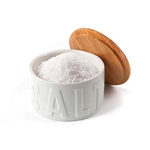 Balvi Bote para Sal en Escamas Salt Color Blanco con Tapa Bambú/cerámica