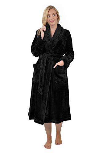 RAIKOU Kuschel weicher Bademantel Hausmantel, Loungewear Saunamantel für Damen, aus luxuriösem Flausch Coral Fleece auch als Morgenmantel perfekt(Schwarz, 36/38)