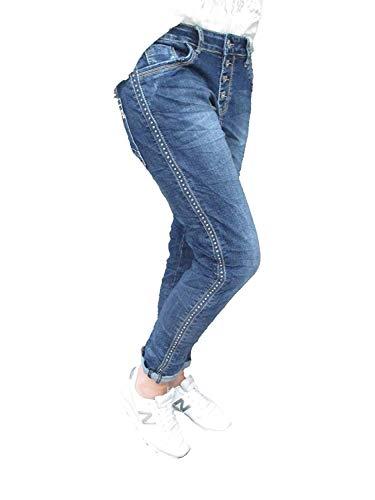 Karostar Stretch Baggy Boyfriend Jeans Remaches Laterales Rayas Denim. L (Ropa)
