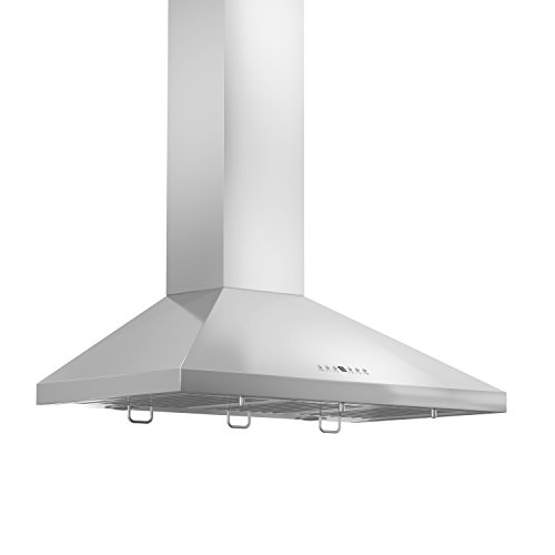 ZLINE 36 in. 400 CFM Wall Mount Range Hood in Stainless Steel with Crown Molding (KL2CRN-36)
