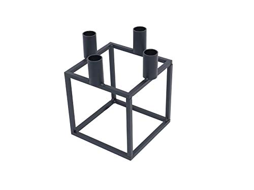 tradeNX NX - Portacandela Cubo, 20 cm, colore: Nero