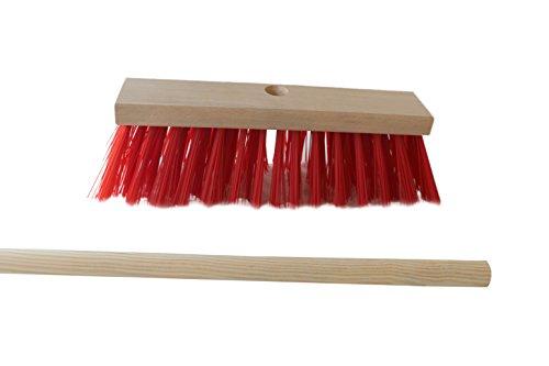 Hofbesen 30 cm con manico fori PVC rosso con 1,40 m manico