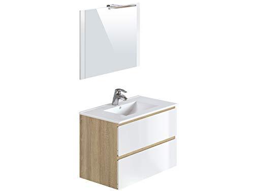Amazon Marke -Movian Argenton - Waschtisch mit Spiegel und Waschbecken, 81x46,5x57cm, Braun