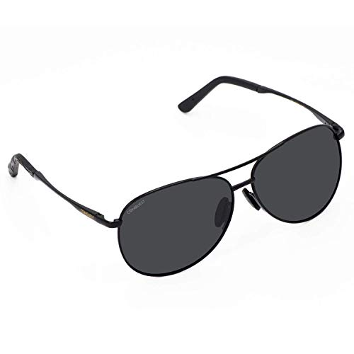 'The Modern Aviator', New 2021 black copper alloy frame, spring hinges, Polarized UV Lenses, by Conquest Sun Inc
