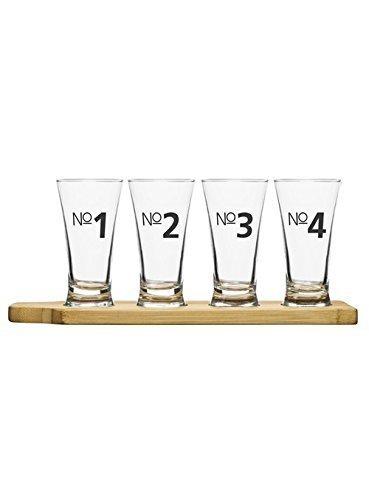 Sagaform Bier Probierset, Glas/Bambus, transparent/Holz, 33x10x15 cm, 5-Einheiten