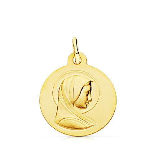 Alda Joyeros Colgante Medalla María Virgen Oro Amarillo 9k 16mm