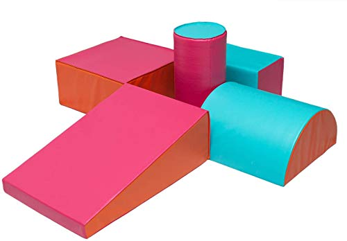 SoftScape Climb and Crawl Activity Foam Play Set ,Lightweight Foam Blocks for Nugget Couch Kids , Toddler Climbing Toys Indoor, Safe Foam Playset for Toddlers and Preschoolers (5-Pink)