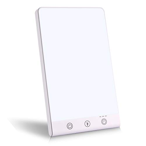 Glynee Tageslichtlampe 11000 Lux, UV-frei Tageslichtleuchten,Lichttherapielampe gegen Depressionen, LED Sonnenlicht mit 3 Einstellbare Helligkeitsstufen 6 Timer,Speicherfunktion & Touch-Steuerung