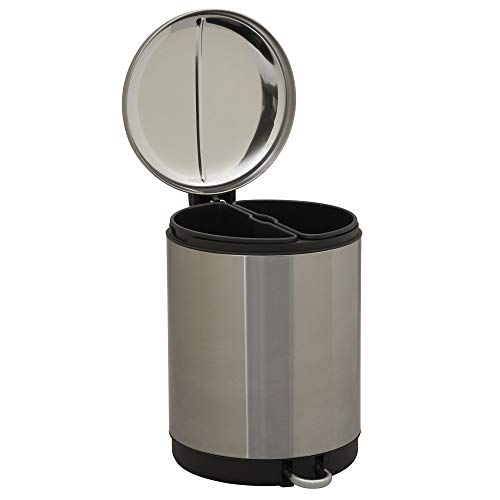 Design Trend Silver Stainless Steel Round Dual Compartment Trash Can and Recycler with Step Pedal and Lid   2 x 15L Bins