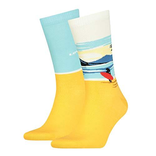 Levi's Unisex-Adult Surf Scenic Regular Cut (2 Pack) Socks, Blue/Yellow, 43/46