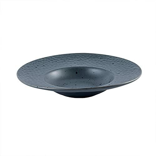 Plato de sombrero de paja, placa profunda de cerámica, placa de arte, placa de comida occidental, placa de pasta de ensalada, 9.5 en gris oscuro