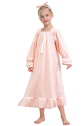 PUFSUNJJ Girls Princess Nightgown,Winter Long Sleeve Flannel Nightdress Pajamas Dress Kids 3-12 Years Lightpink
