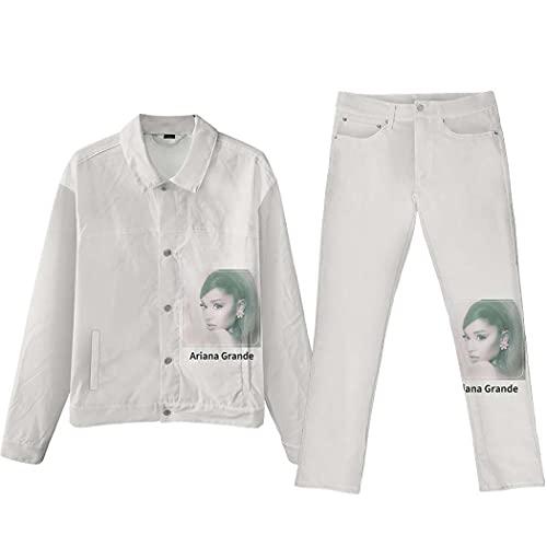 LJXJ Ariana Grande Impresión Digital 3D Tendencia de Moda Chaqueta de Mezclilla para Hombres y Mujeres Chaqueta Larga Pantalones Traje de Jeans,9,XL
