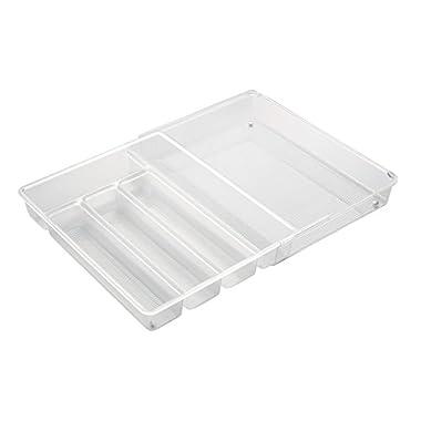 InterDesign Linus Expandable Kitchen Drawer Organizer for Silverware, Spatulas, Gadgets - Clear