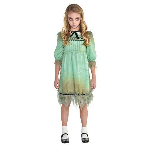 Amscan 9904705 - Kinderkostüm Psycho-Girl, Kleid mit Schleife, Zombie Mädchen, Horror Puppe, Mottoparty, Karneval, Halloween