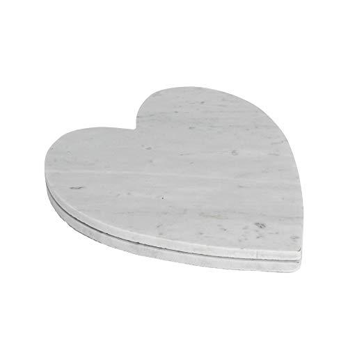 Argon Tableware Plateaux en marbre - en Forme de cœur - pour Servir des Repas - 230 x 270 mm - Blanc - Lot de 2