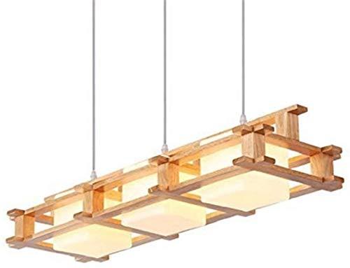 Raelf Lámpara colgante de país americano, luces colgantes, lámparas de madera maciza de tres led, candelabros de cabeza individual personalizada Café restaurante restaurante Lámparas de madera Lámpara