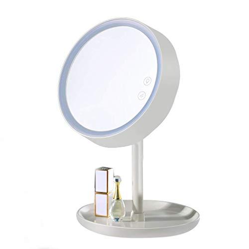 Espejo de escritorio LED con luz ajustable portátil espejo de tocador 2 en 1 espejo de maquillaje y base de almacenamiento de lámpara de mesa extraíble espejo de maquillaje ampliado (color: blanco)