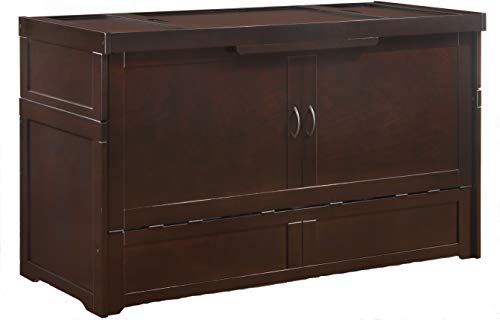 """Night & Day Murphy Cube Queen Cabinet Bed Professionally Assembled by SDS Cabinet Beds with Custom 6"""" Gel and Charcoal-Infused Memory Foam Mattress (Dark Chocolate)"""