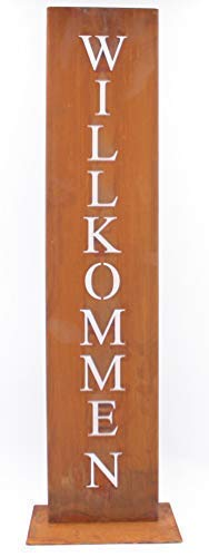 Rostikal | Willkommen Ständer | Rost Dekoration für Hauseingang in Edelrost | Eingangsschild 71 x 15 cm