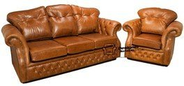 Designer Sofas4u Era en Cuir Places Canapé Chesterfield Canapé Traditionnel