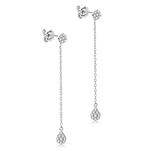 Orovi Ohrringe Damen Hängend Weißgold 9 Karat / 375 Gold Diamant Brilliant 0,22 ct