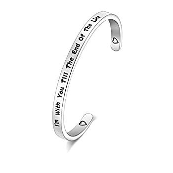 FOTAP  I'm with You Till The End of The Line Cuff Bracelet Gift for Boyfriends Girlfriends Mother Gift from Daughter Son  line Cuff