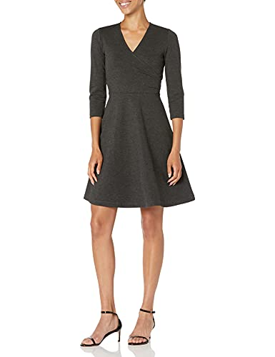 Amazon Brand - Lark & Ro Women's Three Quarter Sleeve Faux Wrap Dress, Charcoal 14 (Apparel)
