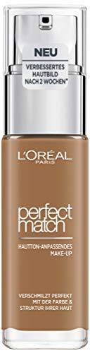L'Oréal Paris Perfect Match Make-up 8.R/8.C Nut Brown, flüssiges Make-up, hautton-anpassend, pflegt die Haut mit Hyaluron und Aloe Vera