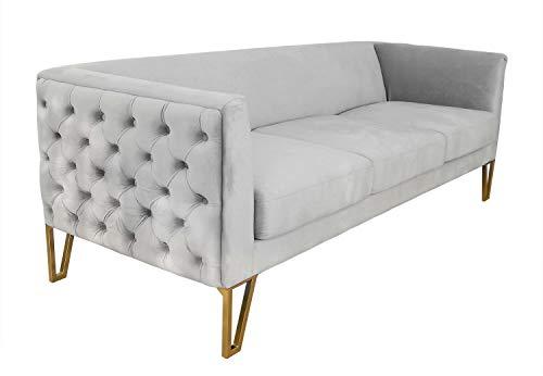 ADM - New Chester Serie Luxury - Lujoso y comodísimo sofá de 3-4 plazas con Estructura Resistente, Base de Acero INOX y Acolchado de Calidad tapizado con Terciopelo - Gris - H76 cm