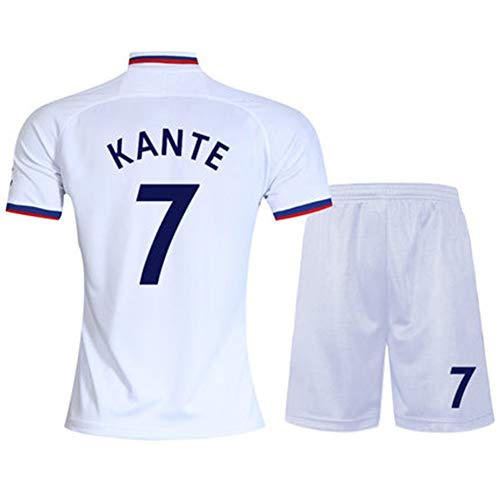 19-20 Chelsea Trikot No.10 Azar 7 Kanter No.9 Morata Home Kurzarm Fußball Uniform Anzug Männer (One Size -2XL) Gr. XXL, weiß1