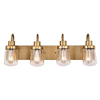YAOHONG Modern Bathroom Vanity Light 4-Lights Lamp in Brushed Brass,Farmhouse Wall Light Fixture with Clear Glass Shades,Indoor Wall Lamp