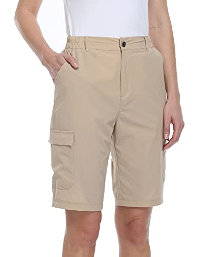 Dilgul Pantalones cortos de secado rápido para mujer, pantalones cortos, bermudas, verano, viajes, pesca, golf, impermeables, para exteriores caqui 42-44