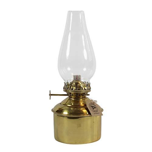 Petroleumlampe HAGA aus poliertem Messing, Höhe 22 cm, mit Messingbrenner und 11 mm Docht, Glaszylinder, Behälterdurchmesser 7 cm, Leuchtdauer 18 Std.